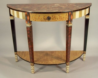 Handpainted Console Table - Sofa Table - Serving Table -Demi-Lune: Olive-Anthropologie Knob, Custom Made-To-Order