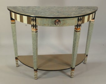 Hand Painted Console Table - Sofa Table - Demi-Lune: Grey-Bronze-Anthropologie Knob, Custom Made-To-Order