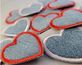 Heart Patches Perfect for Blue Jeans Jackets Shirts and Backpacks Recycled denim