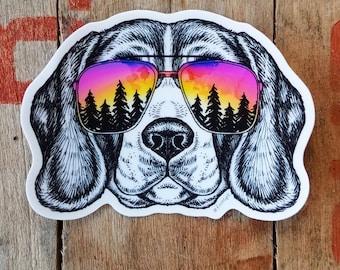 Beagle Dog Sticker Sunset Sticker Vinyl Outdoor Gifts Adventure Sticker Pet Animal Weatherproof Sticker