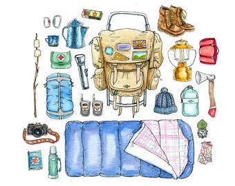"""Go Backpacking- Pen and Ink Illustration Watercolor Painting Print- 8.5""""x11"""""""