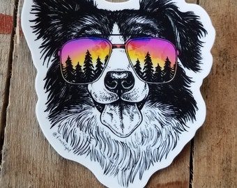 Border Collie Dog Sticker Vinyl Outdoor Gifts Adventure Sunset Sticker Pet Animal Weatherproof Sticker