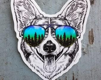 Corgi Sticker Corgi Dog Sticker Vinyl Outdoor Gifts Adventure Sunglasses Cute Pet Weatherproof Sticker