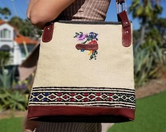 Vintage Handbag Top Handle,Vintage Carpet Bag,Vintage Shoulder Bag,Vintage Handbag,Vintage Leather Bag,Vintage Kilim Bag,Top handle bag