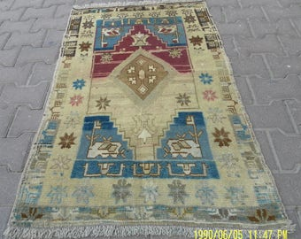 2 by 4 rug, Small Rug, Small Vintage Rug, Small Oushak Rug, Small Turkish Rug, Doormat Rug, Vintage Pillow, Vintage Cushion, Pillow Rug