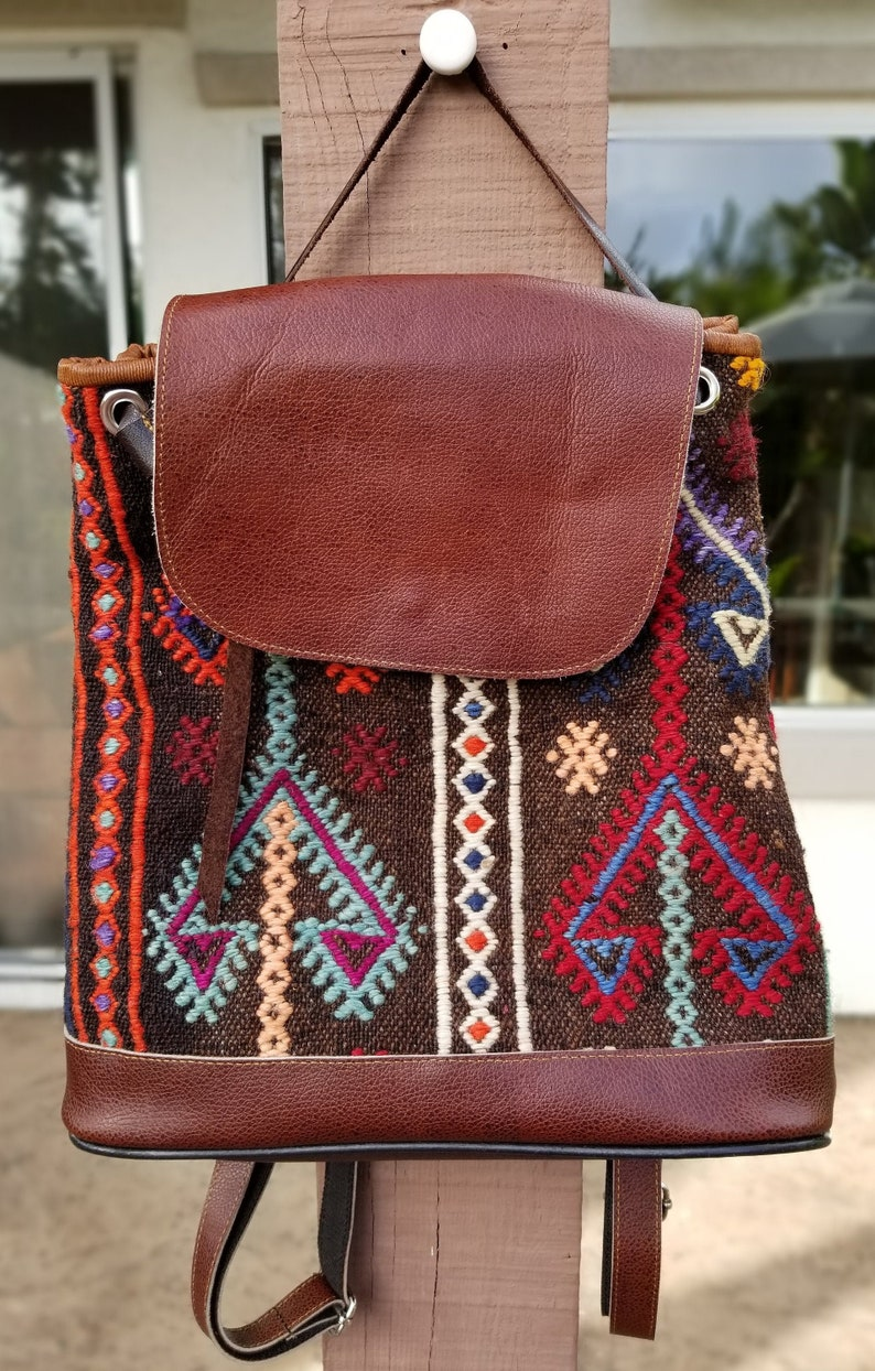 Vintage BackpackVintage Leather BagKilim BagBoho image 0