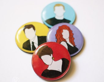 Set of 4 Will and Grace inspired Fridge Magnets.