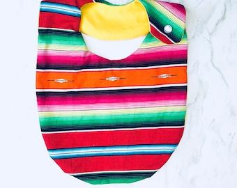 Red Serape Cotton Print Bib, Mexican