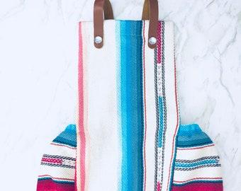 White Serape Baby Romper, Mexican Blanket