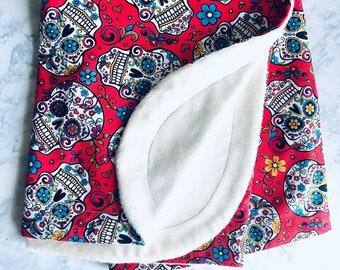 Sugar Skull Baby Blanket, Calavera, dia de los muertos