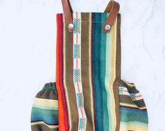 Brown Serape Baby Romper, Mexican Blanket