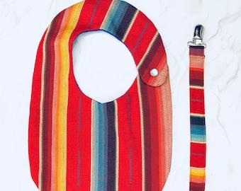 Red Serape Bib Set, Mexican Fabric