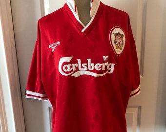 d92800a282c Vintage Liverpool 1996-1998 90s Carlsberg Reebok Soccer Football Jersey