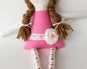 Handmade 12 inch Rag Doll, Custom Personalized Doll, Amelia