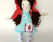 Little Red Riding Hood Rag Doll, Cloth Doll, Riley Blake, Woodland Fox Nursery, Custom Personalize