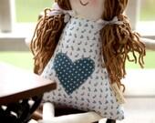 Handmade Rag Doll Personalized, Child Friendly Doll with Yarn Hair, Hannah