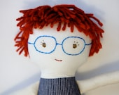 Red Haired Boy Rag Doll with Glasses, Waldorf Cloth Doll, Hot Rod, Graham