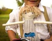 Boy Rag Doll, Waldorf Cloth Doll, Hot Rod Ticking Stripe, Hudson