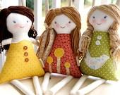 Custom Set of 3 Rag Waldorf Dolls, Personalized, custom cloth doll