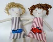 Waldorf Custom Boy Brother Dolls, Set of 2 Boy Rag Dolls, Handmade Cloth Doll, Vintage Ticking Stripe, William and Hudson