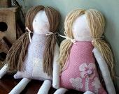Sisters Set of 2 Custom Rag Dolls, Cloth Doll, Waldorf Siblings