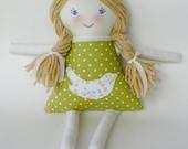 Handmade 12 inch Rag Cloth Doll, Clara