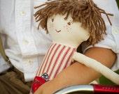 Handmade Boy Rag Doll with Freckles, Waldorf Cloth Boy Doll with Red Ticking Stripe, William