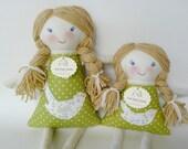 Custom Set of 2 Rag Dolls, Big Sister Little Sister, Handmade Waldorf Cloth Doll, Eleanor and Clara