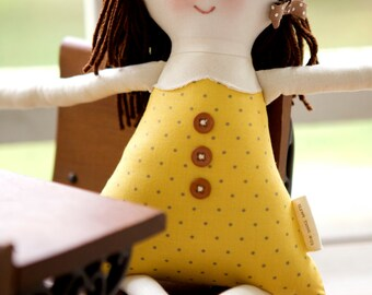 Handmade Rag Doll, Waldorf Cloth Doll, Eco-friendly Fabric Doll, Personalize, Josephine