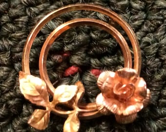 Sale - Sweet Vintage Gold Tone Double Circle Pin with Flower