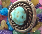 SALE Vintage Handmade Native American Sterling Silver Turquoise Ring - Size 6 1 2
