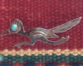 Old Native American Hand Made Coin Silver or Better Roadrunner Pin