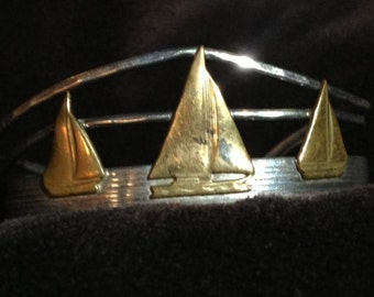Handmade Sterling Silver Sailboat Cuff signed Courtney S.S.
