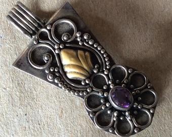 Vintage Sterling Silver Tribal Pendant Marked 925