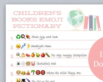 Children's Books Emoji Pictionary- Baby Shower Game- Instant Download- Print at Home: Pink Color