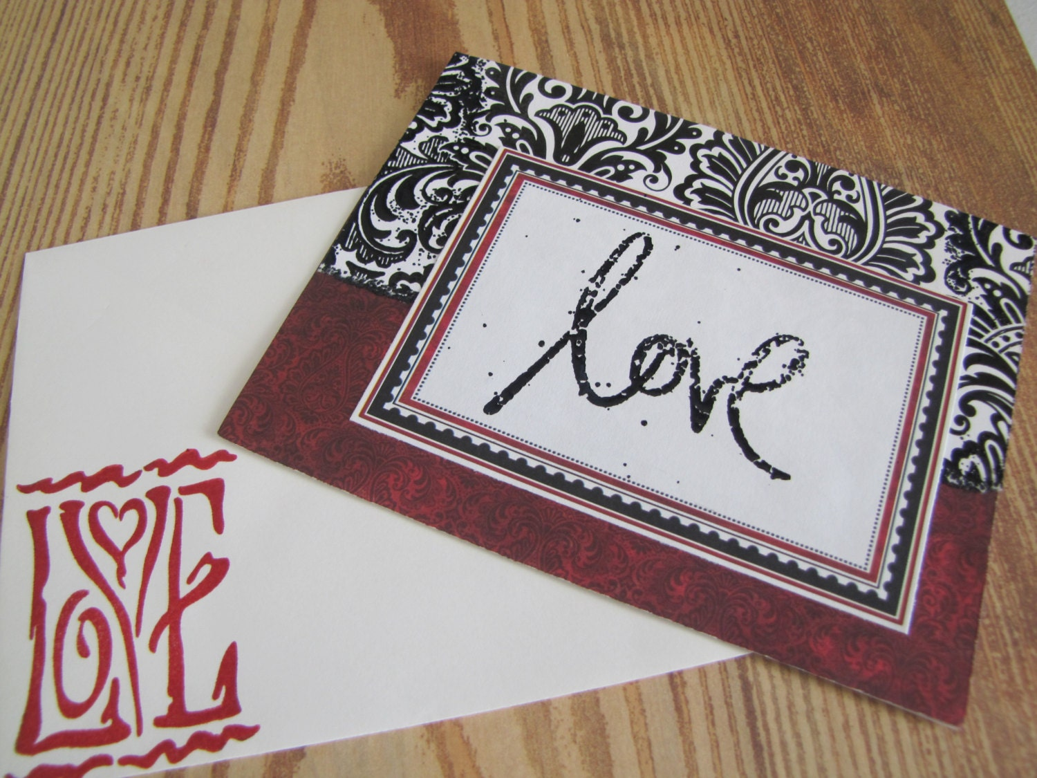 Red And Black Love Handmade Greeting Cards Anniversary On Etsy