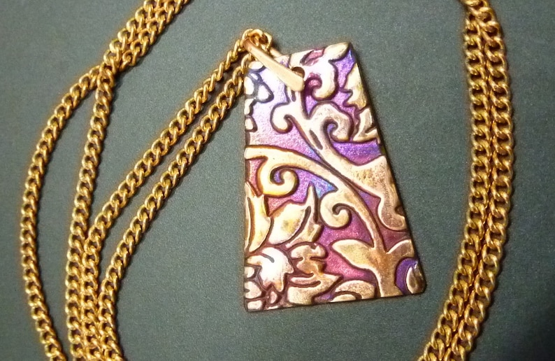 Flame Painted Copper Pillar Pendant-Raspberry-Special-Bright-Red-Purple-Orange-Copper Pillar Necklace-Free Shipping!