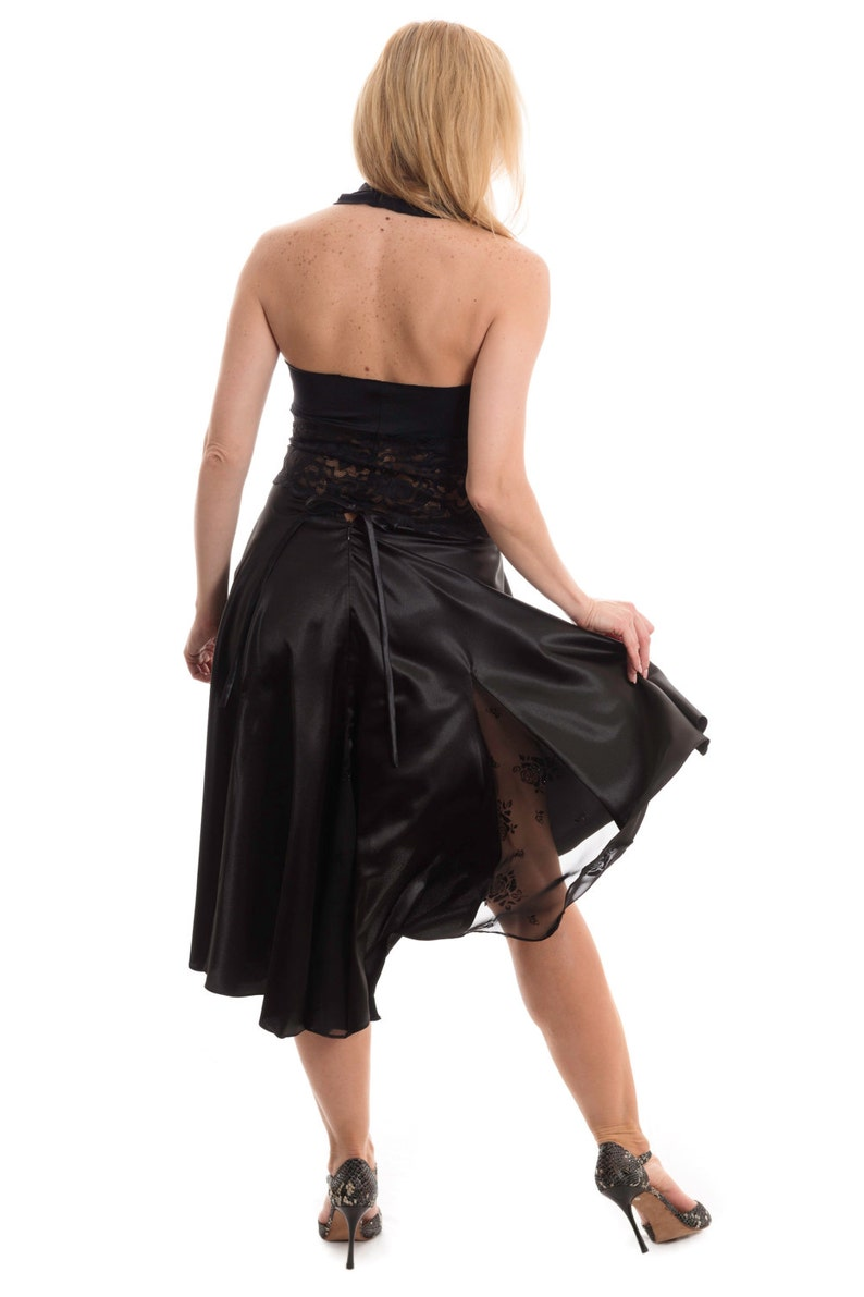 Madame Betti Classic Black Tango Skirt with Lace Accent Argentine Tango Black Skirt Perfect for Tango Performances and Milongas.
