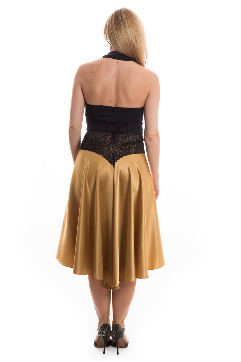 Excellent for Tango Events and Milongas Madame Marianna Gold Color with Black Lace Only. Argentine Tango Satin Front Slit Skirt