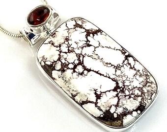 Wild Horse Jasper & Garnet Sterling Silver Rectangular Pendant