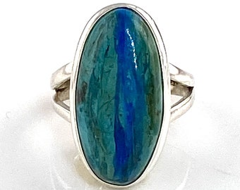 Peruvian Blue Opal Sterling Silver Oval Ring