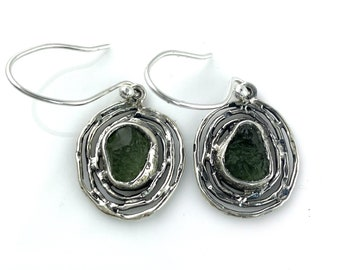 Moldavite Rough Sterling Silver Ripple Earrings