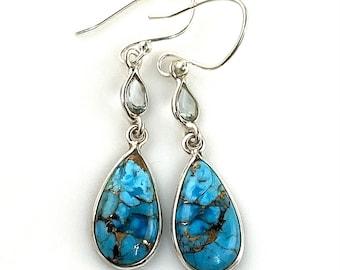 Blue Copper Turquoise & Blue Topaz Sterling Silver Pear Earrings