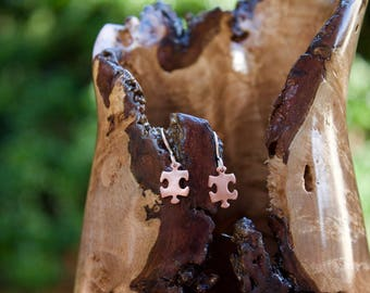 Small Copper Puzzle Earrings on sterling silver french wire