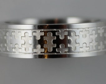 Stainless Steel Puzzle Ring - Laser Cut