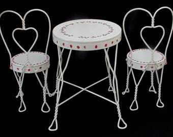 Doll Or Teddy Bear Ice Cream Parlor Furniture Set   Metal Chairs And Table    Vintage Childrens Furniture   White With Hand Painted Cherries