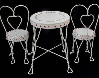 Beau Doll Or Teddy Bear Ice Cream Parlor Furniture Set   Metal Chairs And Table    Vintage Childrens Furniture   White With Hand Painted Cherries
