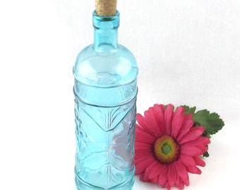 Blue Glass Corked Bottle - Raised Relief Designed Motif