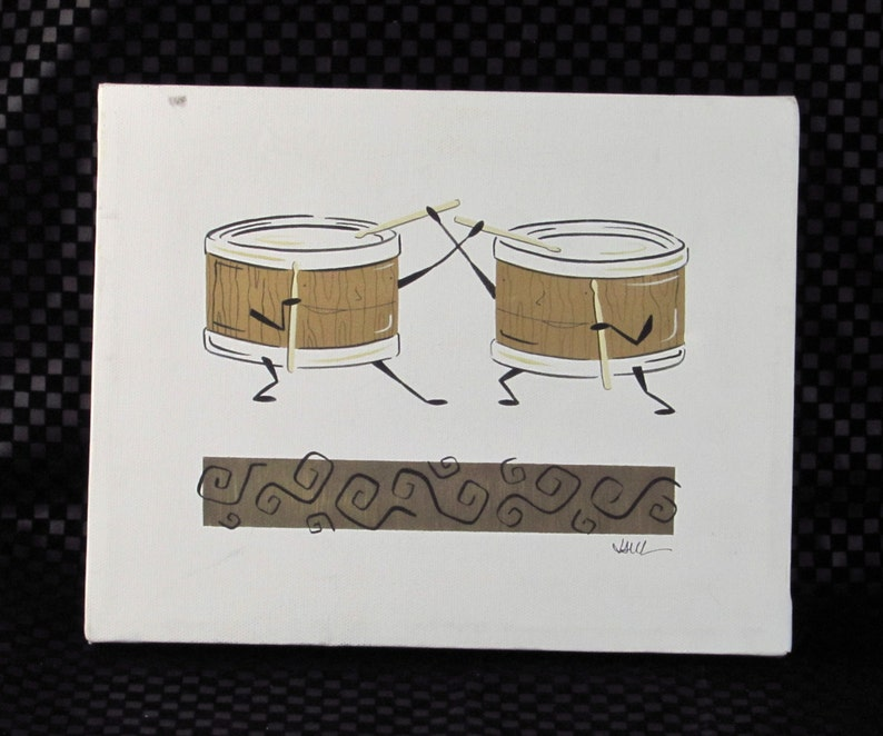 Percussion Musical Instrument Art The Tom Tom Twins by Julie Lewis Artist Signed Wall Hanging Beating Drums with Cute Story Card