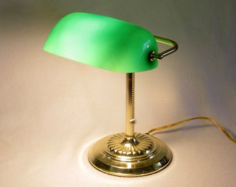 Brass Piano Lamp - Green Glass Shade - Adjustable Task Lighting - Bankers Light - Good Fortune Feng Shui - Zen - Colorful Vintage Home Decor